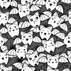 Seamless halloween kawaii cartoon pattern with cute bats.