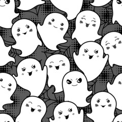 Seamless halloween kawaii cartoon pattern with cute ghosts.