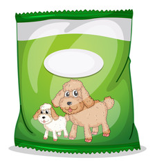 A green dogfood pouch with an empty label