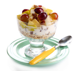 Healthy breakfast - yogurt with  fresh grape and apple slices