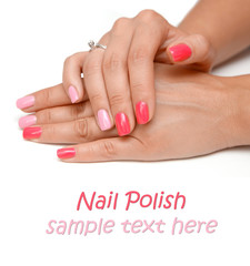red nails manicure  with sample text