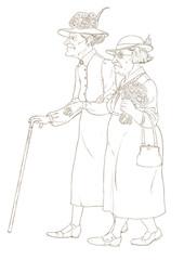 Контурный рисунок с изображением двух пожилых женщин на прогулке