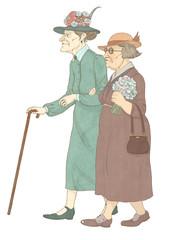 Две нарядные пожилые женщины на прогулке