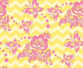 Vector Seamless chevron floral Background