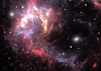 Red space nebula