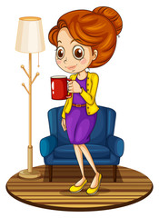 A woman near the blue couch holding a red mug