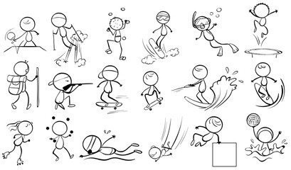 Doodle design of people engaging in different sports