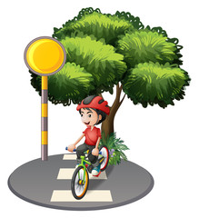 A street with a boy biking