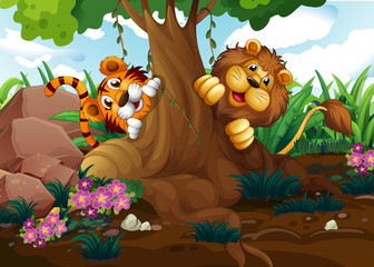 A tiger and a lion playing at the forest