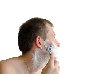 the man has a shave on a white background