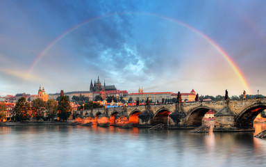 Rainbow over Prague castle, Czech republic