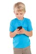 canvas print picture - Cute little boy using smartphone