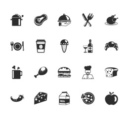Vector Food and Elements Icons Set