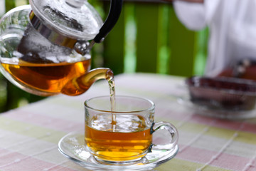 Hot tea and chocolate banoffee cake