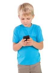 Cute little boy using smartphone