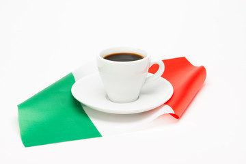 Cup of coffee with flag