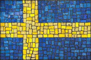 Mosaic flag of Sweden