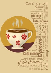 Coffee drink card with a coffee cup in typography design