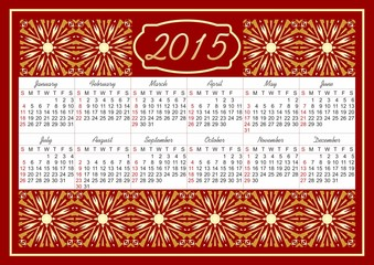 Calendar 2015 with fine vintage golden patterns