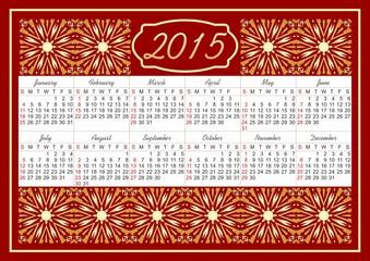 Calendar 2015 with fine vintage golden patterns