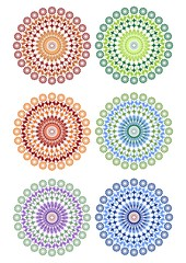 A set of fine circle patterns in different color variants