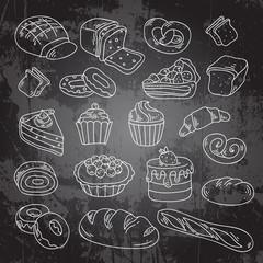Vector hand drawn bakery cakes, croissant, cupcakes, donut
