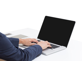 Laptop computer with blank screen on white background