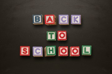 Back to school message in blocks