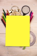 Students desk with yellow page