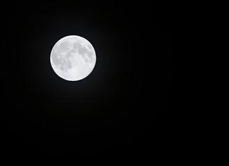 A full moon on a dark night sky.