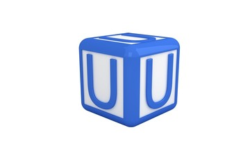 U blue and white block
