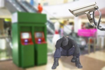 CCTV cameras observe the ATM to prevent theft.