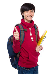 Asian young man with backpack and clipboard