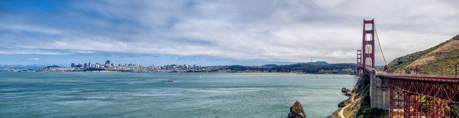 San Francisco skyline with Golden Gate Bridge