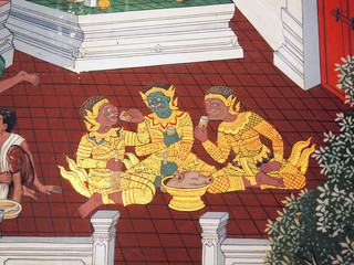 A scene from the Ramakien in Wat Phra Kaew, Bangkok, Thailand