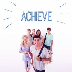 Achieve against smiling students
