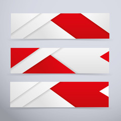 Banners - white and red vector illustration