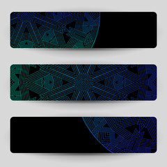 Black banners with blue geometric decoration.