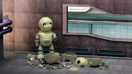 Ein kleiner unglücklicher Roboter inmitten von Schrott