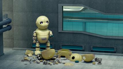 Ein kleiner unglücklicher Roboter der seinen Freund verloren hat