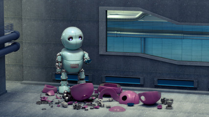 Ein kleiner unglücklicher Roboter in blau