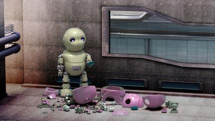 Ein kleiner unglücklicher Roboter in gelb