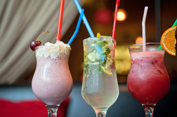 three healthy nonalcoholic cocktails