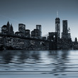 Panoramic view New York City Manhattan downtown skyline at night - 68675080