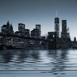 Panoramic view New York City Manhattan downtown skyline at night - 68675080