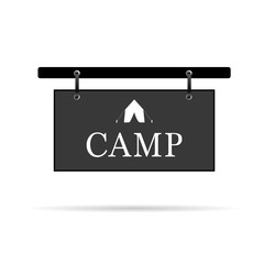 camp sign with tent vector illustration