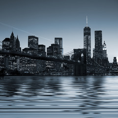 Panoramic view New York City Manhattan downtown skyline at night