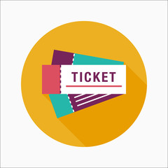 Ticket flat icon with long shadow