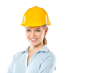 Close-up of smiling female student architect or constructor