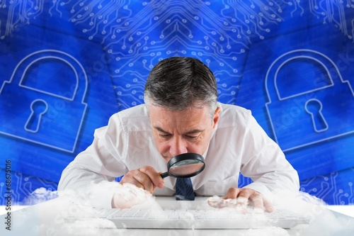 Leinwandbild Motiv Composite image of mature businessman
